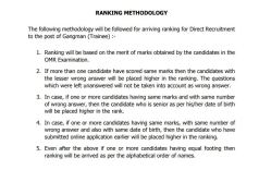 TNEB Gangman Ranking Methodology 2020