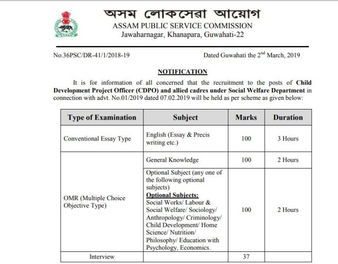 APSC CDPO Syllabus 2020 PDF | Download Exam Pattern Here