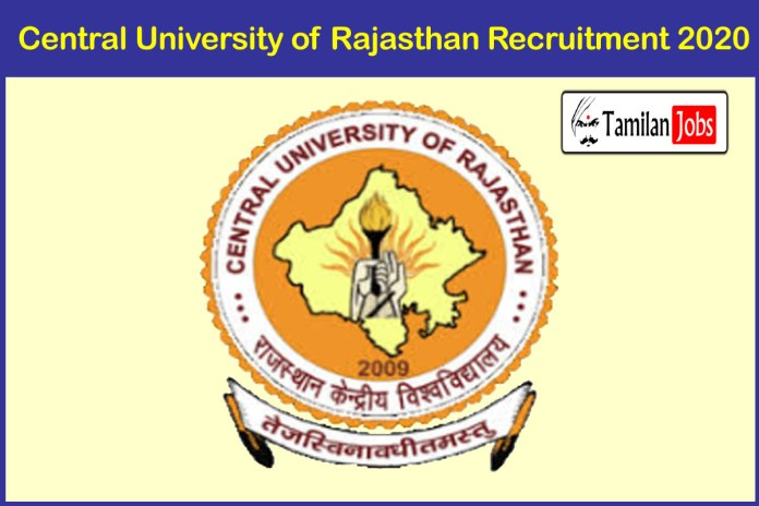 Central University of Rajasthan Recruitment 2020