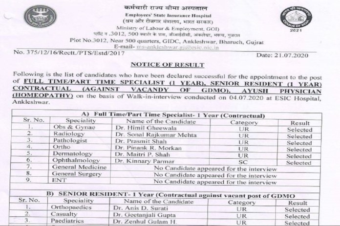 ESIC Gujarat Specialists, Senior Resident Result 2020 OUT @esic.nic.in, Selection List