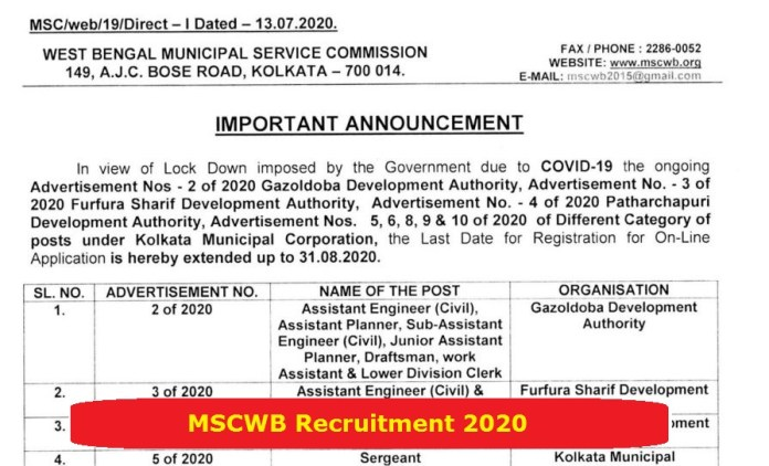 MSCWB Recruitment 2020 Out – Apply Online 1294 Jobs