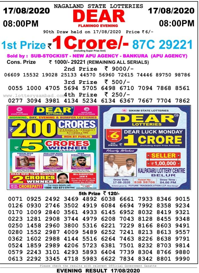 Nagaland State Lottery Sambad Result 17.8.2020 at 8 PM