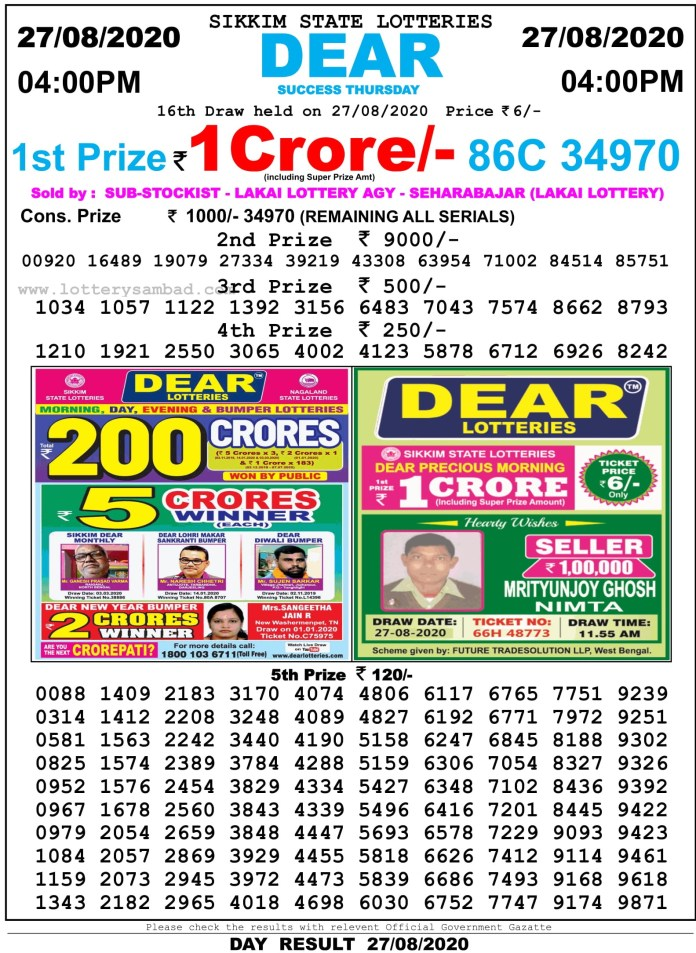 Sikkim State Lottery Result 27.8.2020 at 4 PM