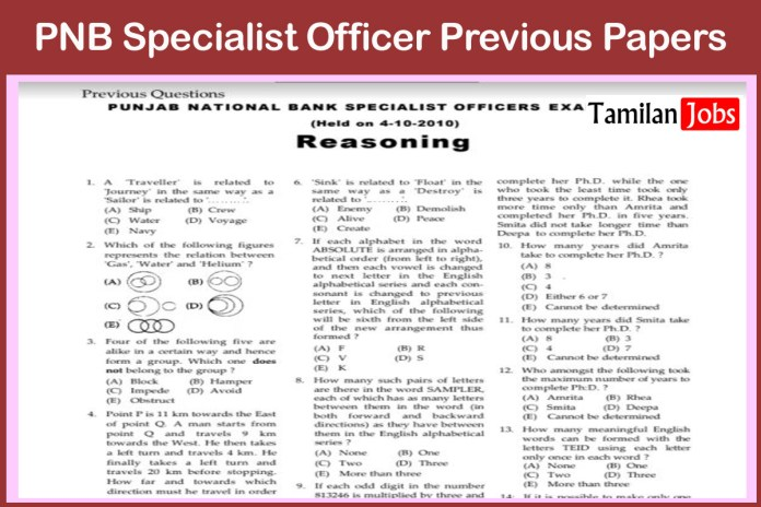 PNB Specialist Officer Previous Papers | SO Model Question Papers @ www.pnbindia.in
