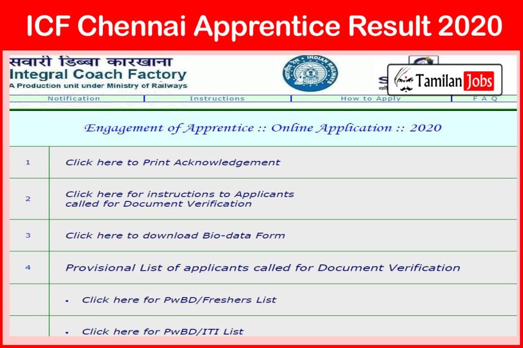 ICF Chennai Apprentice Result 2020