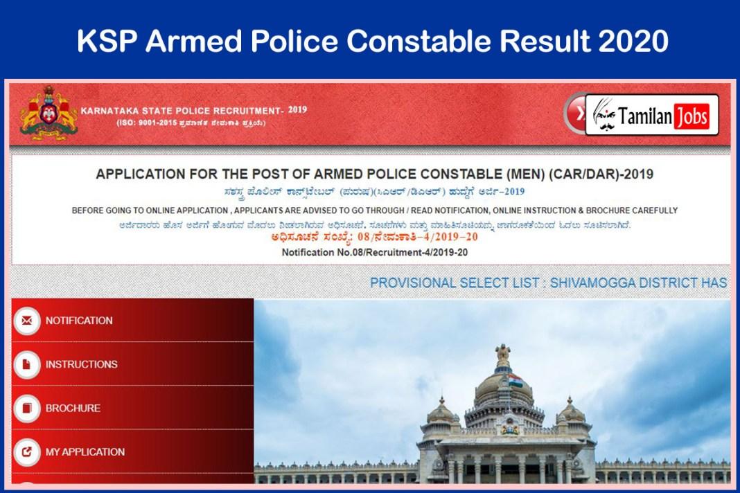 KSP Armed Police Constable Result 2020