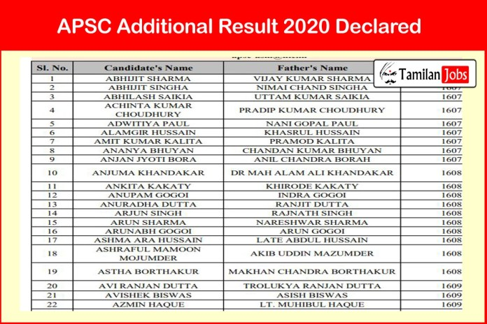 APSC Additional Result 2020 Declared | Download at apsc.nic.in