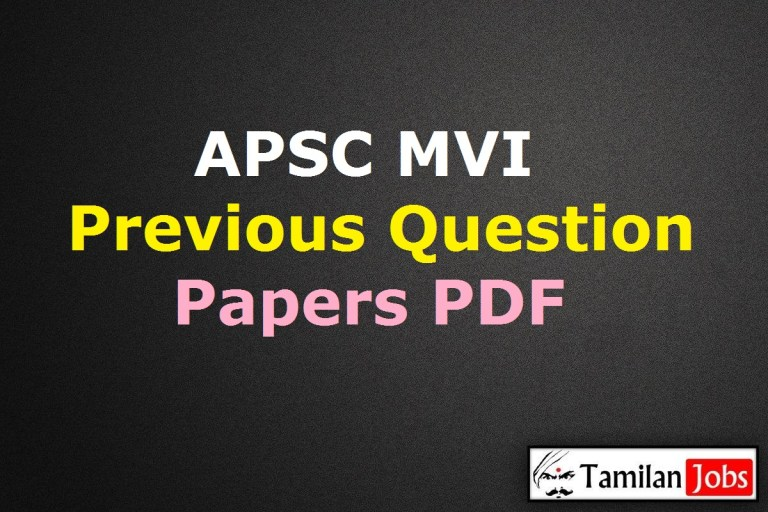 APSC Motor Vehicle Inspector Previous Question Papers PDF @ apsc.nic.in