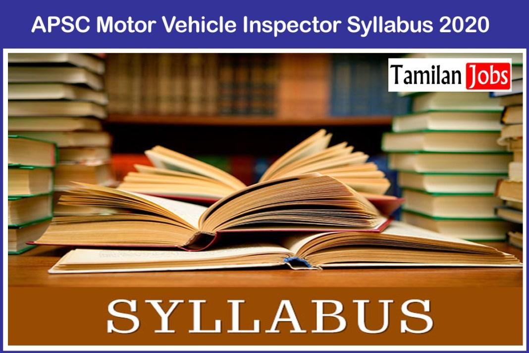 APSC Motor Vehicle Inspector Syllabus 2020