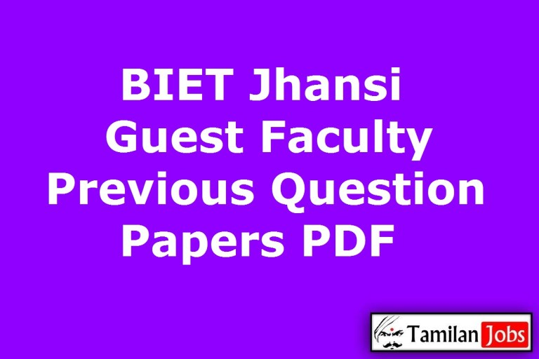 BIET Jhansi Guest Faculty Previous Question Papers PDF @ bietjhs.ac.in
