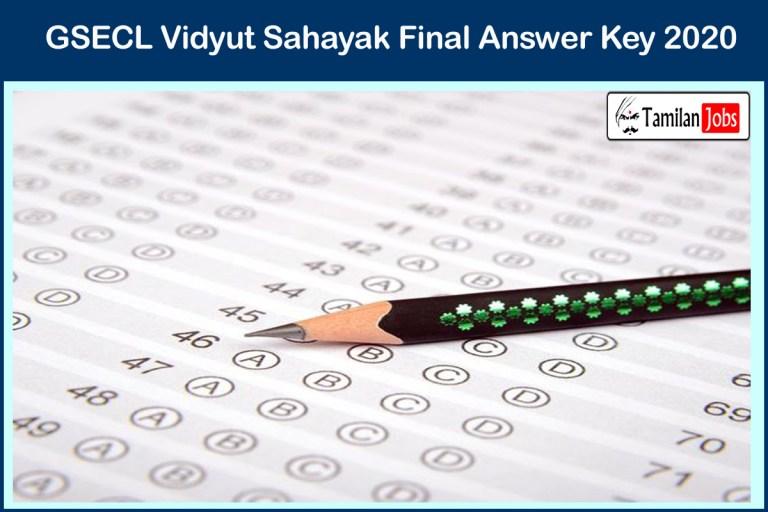 GSECL Vidyut Sahayak Final Answer Key 2020 PDF | Download Exam Key, Objections