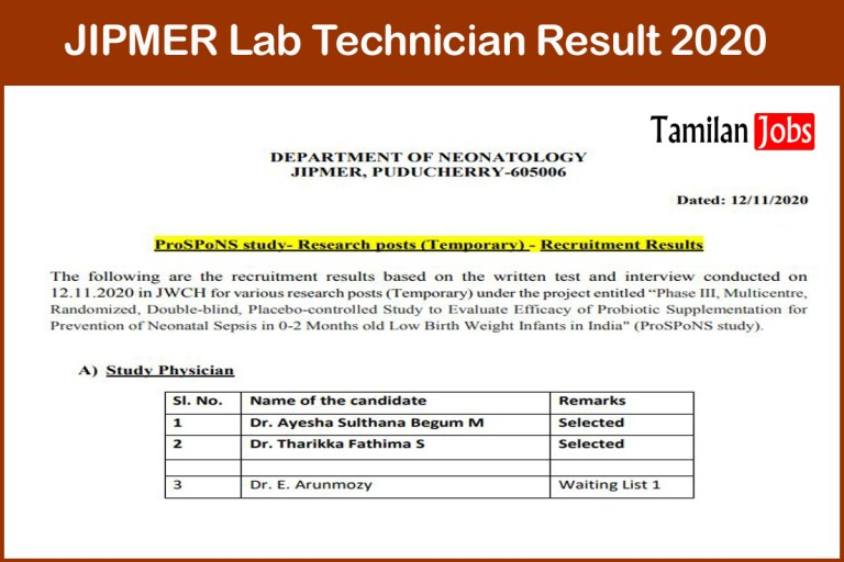 JIPMER Lab Technician Result 2020 Out, Check Cut Off, Merit List