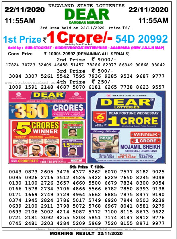 Lottery Sambad 11.55 AM Result 22.11.2020