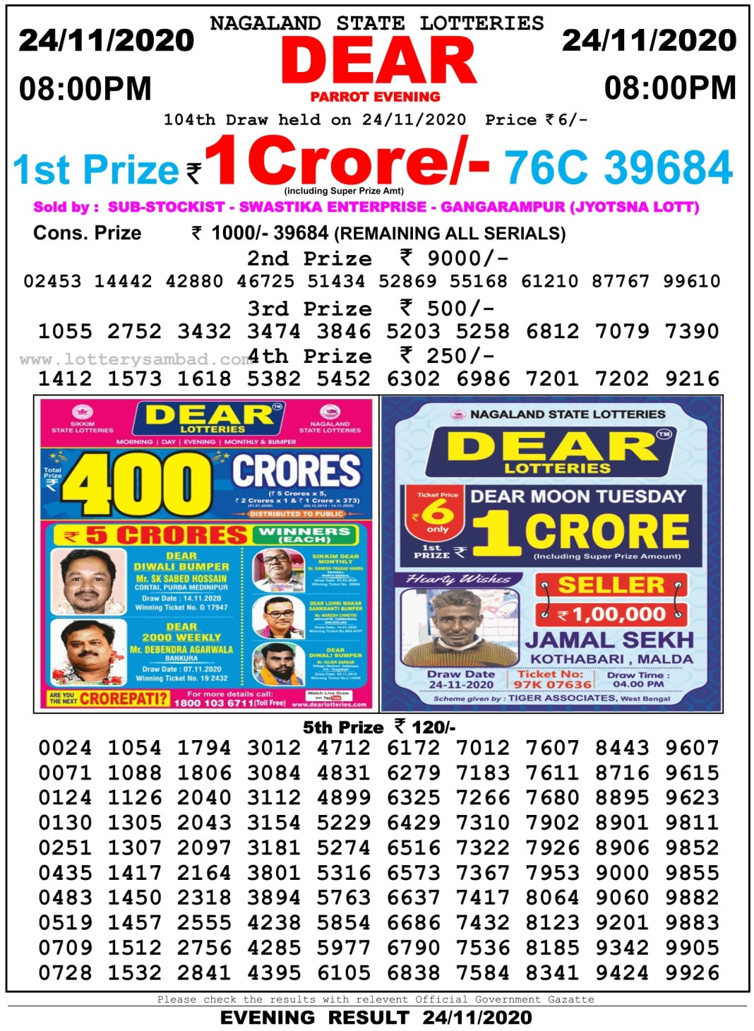 Nagaland State Lottery Result 8 PM 24.11.2020