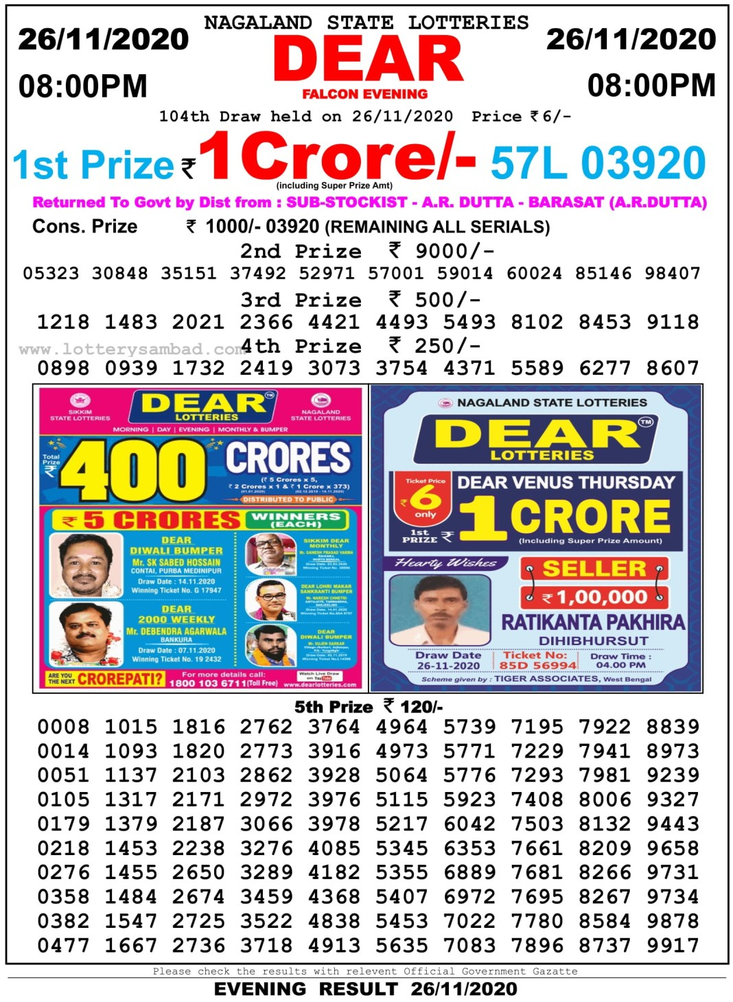 Nagaland State Lottery Result 8 PM 26.11.2020