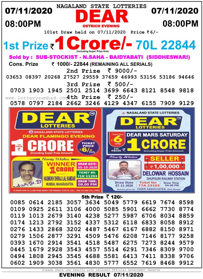 Nagaland State Lottery Result 8 PM 7.11.2020