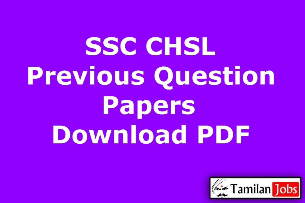 SSC CHSL Previous Question Papers PDF