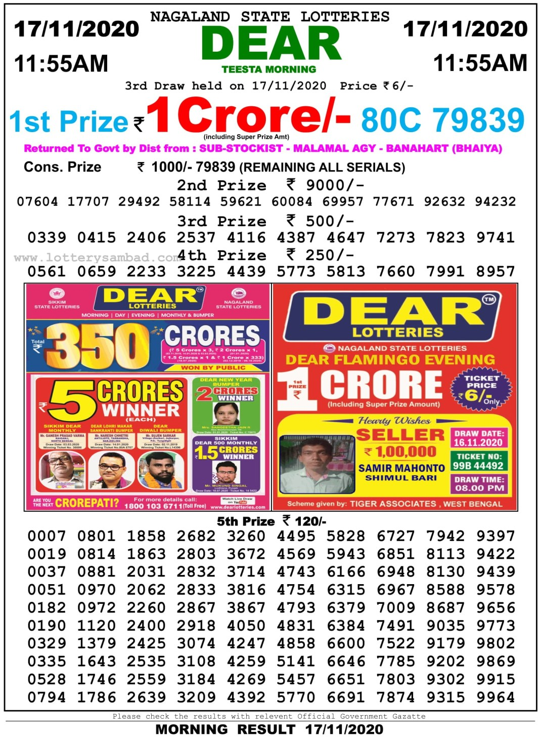 Sikkim State Lottery Result 11.55 AM 17.11.2020