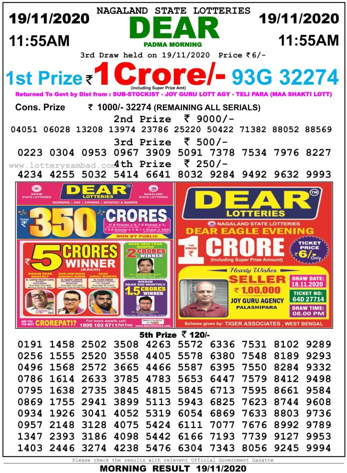 Sikkim State Lottery Result 11.55 AM 19.11.2020