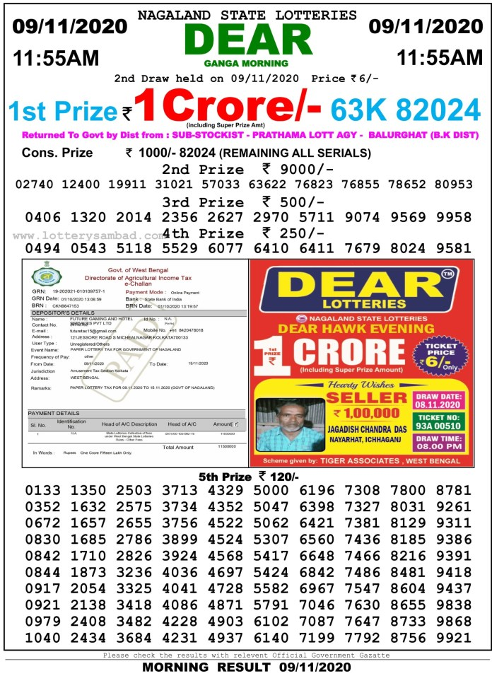 Sikkim State Lottery Result 11.55 AM 9.11.2020