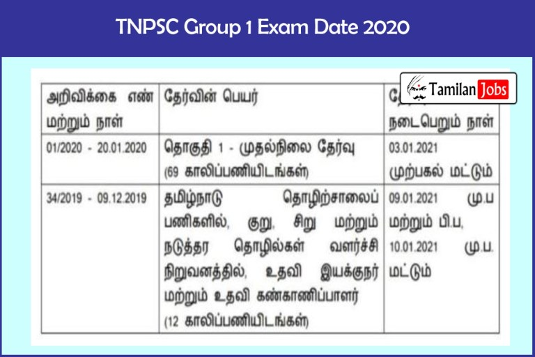 TNPSC Group 1 Exam Date 2020 Announced | Check Details Here