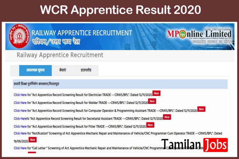 WCR Apprentice Result 2020 Out, Cut Off, Merit List at mponline.gov.in