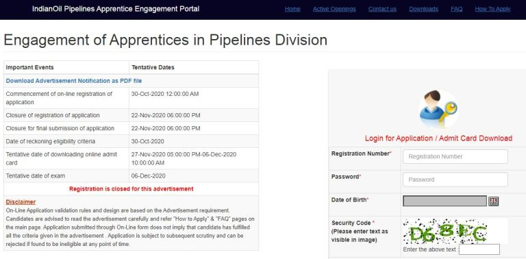 IOCL Apprentice Admit Card 2020 (OUT) @ iocl.com, Pipeline Division Call Letter, Exam Date