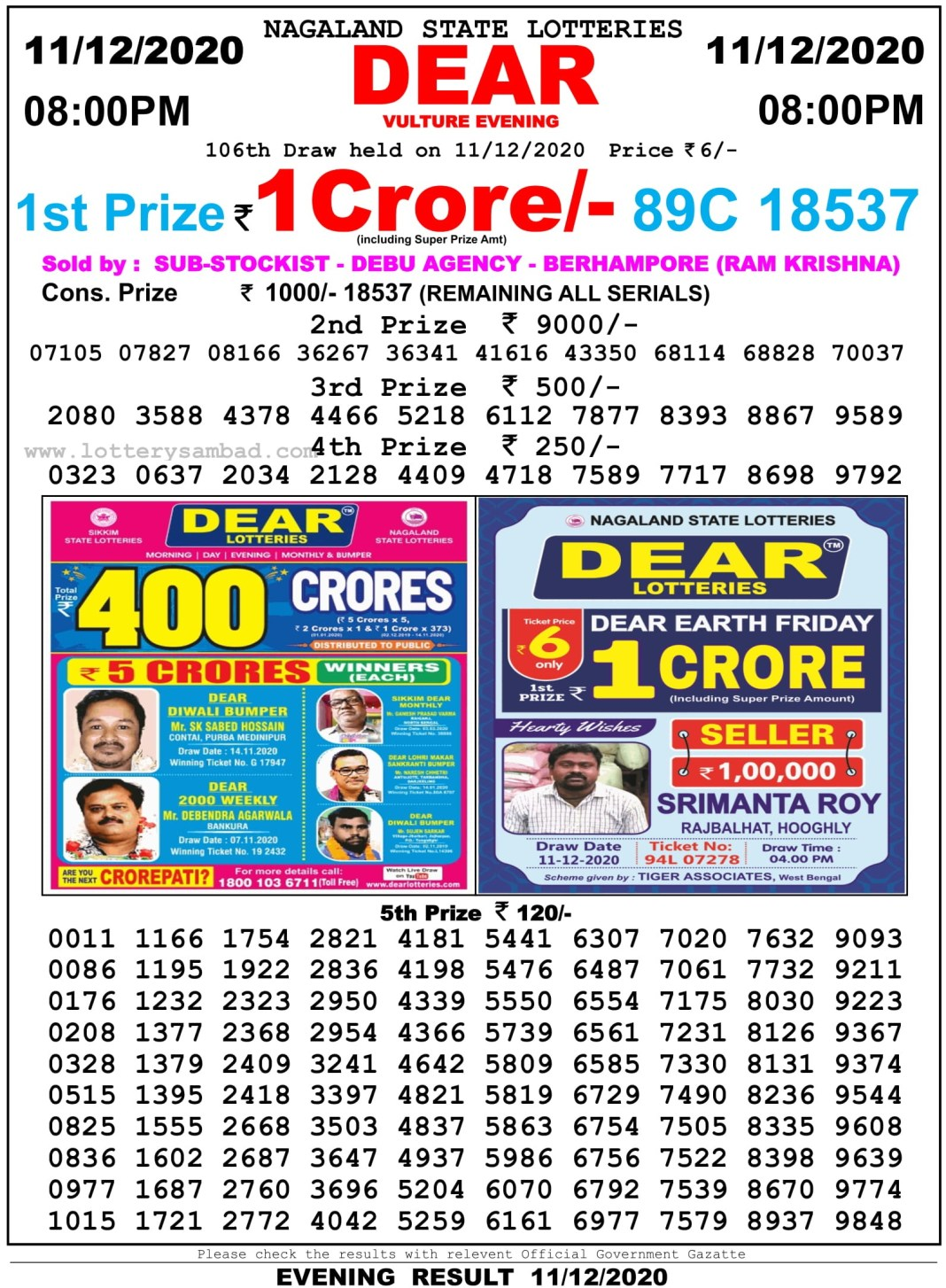 Nagaland State Lottery Result 8 PM 11.12.2020
