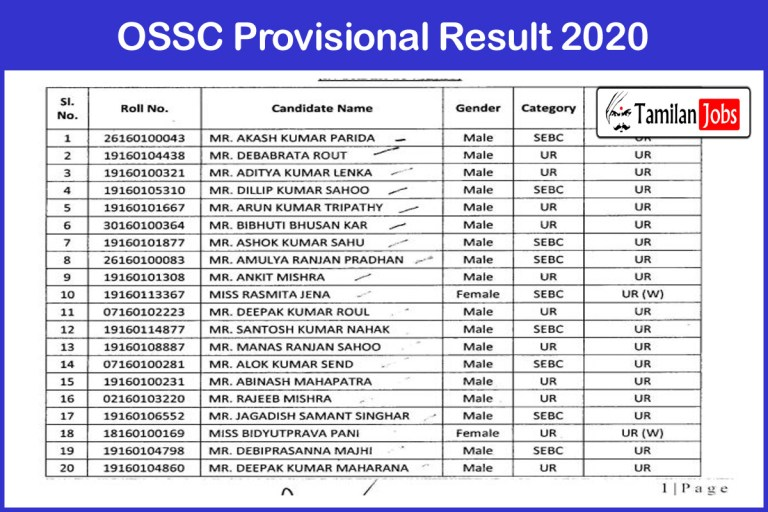 OSSC Provisional Result 2020 (Announced) | Download Shortlisted Candidates List
