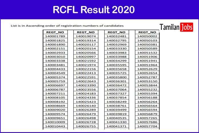 RCFL Management Trainee, Operator Trainee Result 2020 (Out) | Download Here