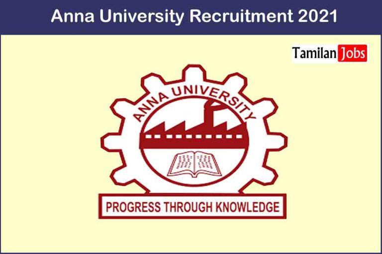 Anna University Recruitment 2021 Out – Apply JRF Jobs
