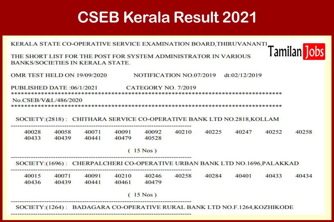 CSEB Kerala System Administrator Result 2021