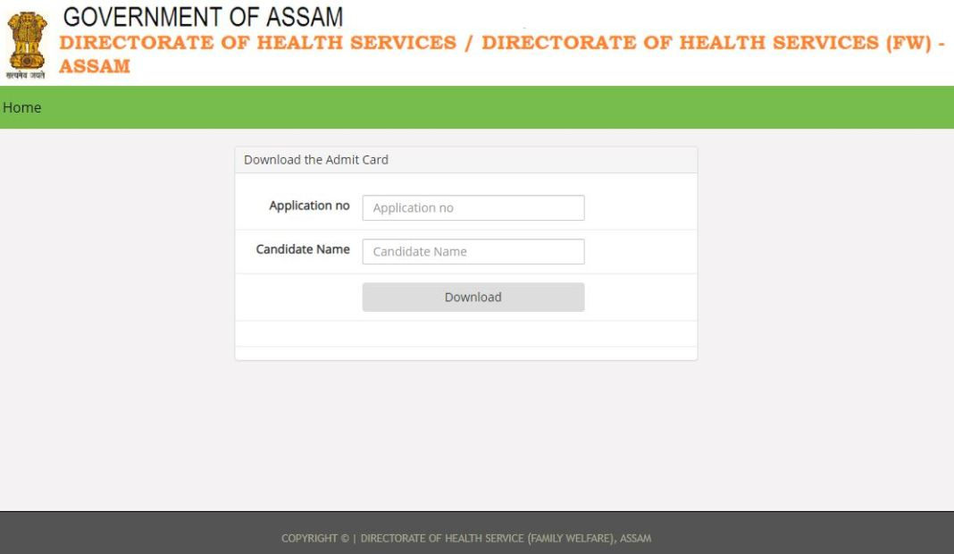 DHS Assam Staff Nurse, Pharmacist Admit Card 2021