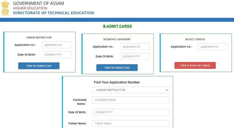 DTE Assam Scientific Assistant Admit Card 2021 (Out), Junior Instructor Exam Date