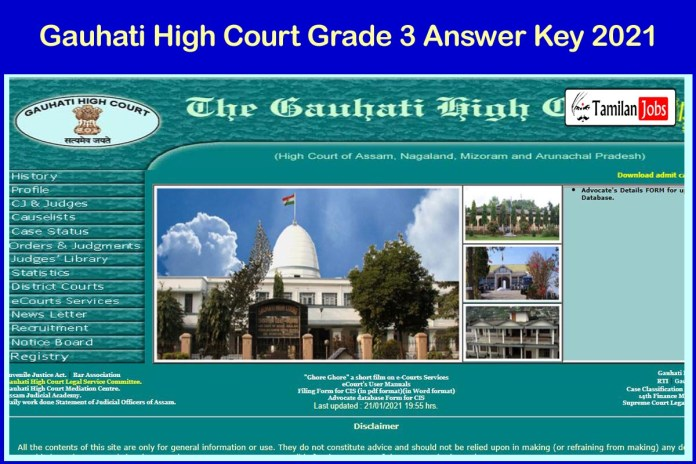 Assam Judicial Service Grade 3 Mains Answer Key 2021 PDF | Download @ ghconline.gov.in