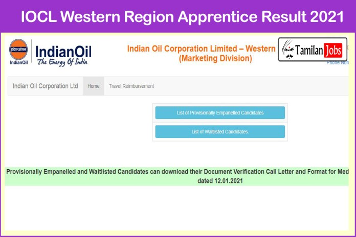 IOCL Western Region Apprentice Result 2021 (Out) | Check Merit List @ iocl.com