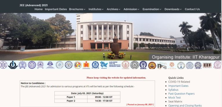 JEE Advanced 2021 Exam Date (Out) @ jeeadv.ac.in, Exam Schedule