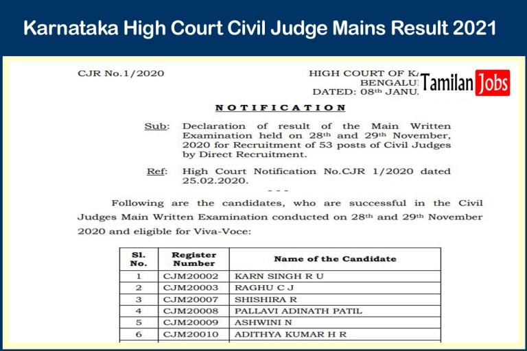 Karnataka High Court Civil Judge Mains Result 2021 (Out) | Check Here