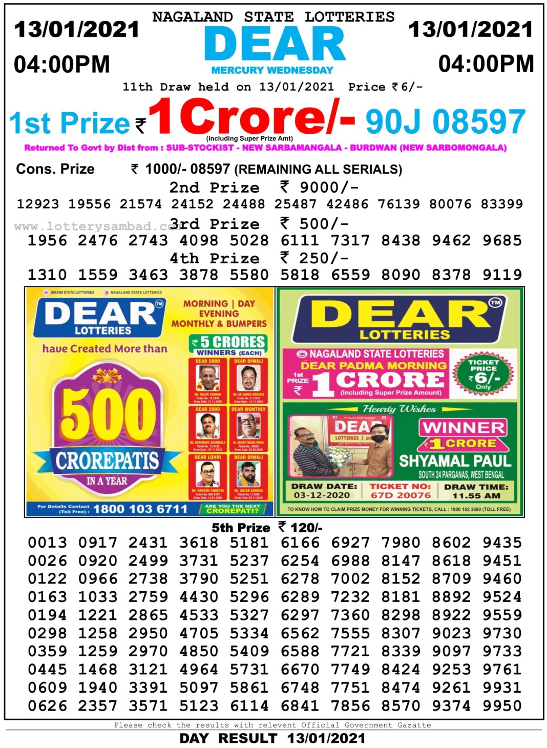 Nagaland State Lottery Result 4 PM 13.1.2021