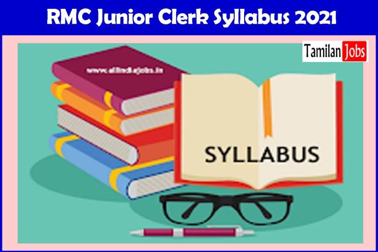 RMC Junior Clerk Syllabus 2021, Exam Pattern PDF @ wwwrmc.gov.in