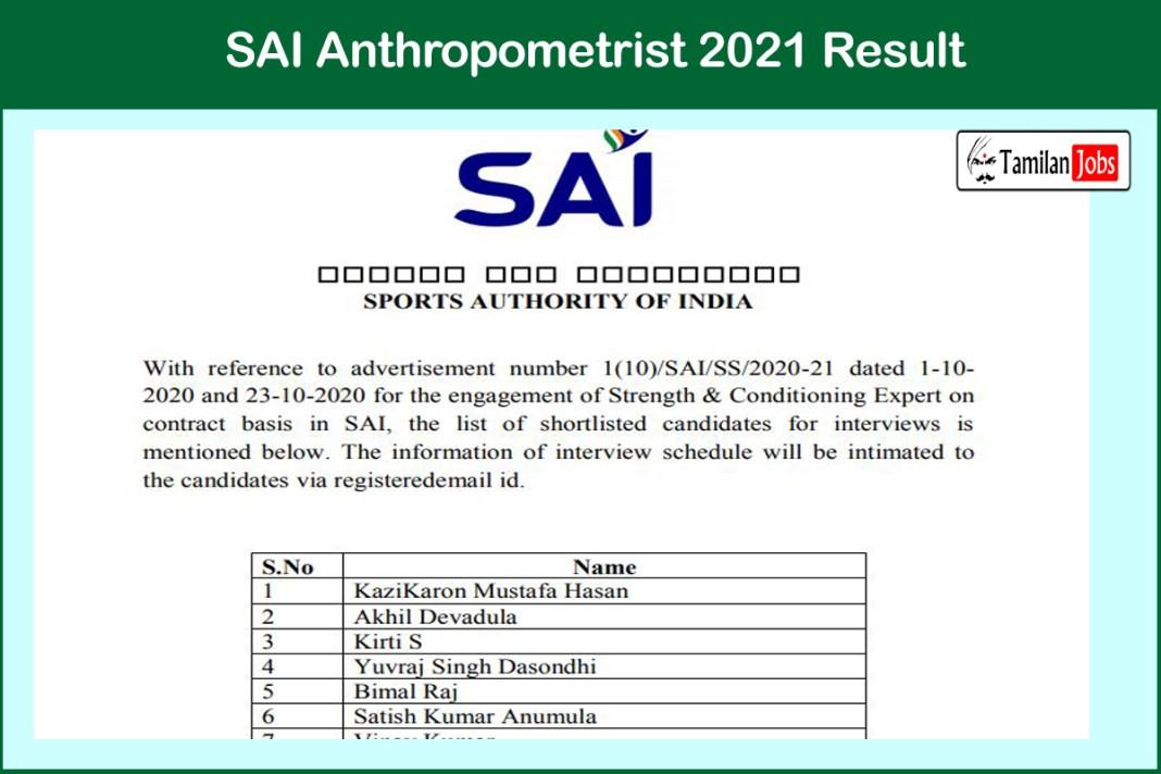 SAI Anthropometrist 2021 Result