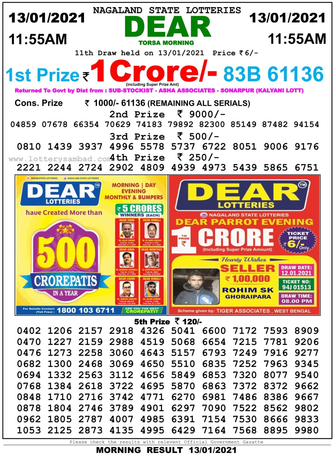Sikkim State Lottery Result 11.55 AM 13.1.2021