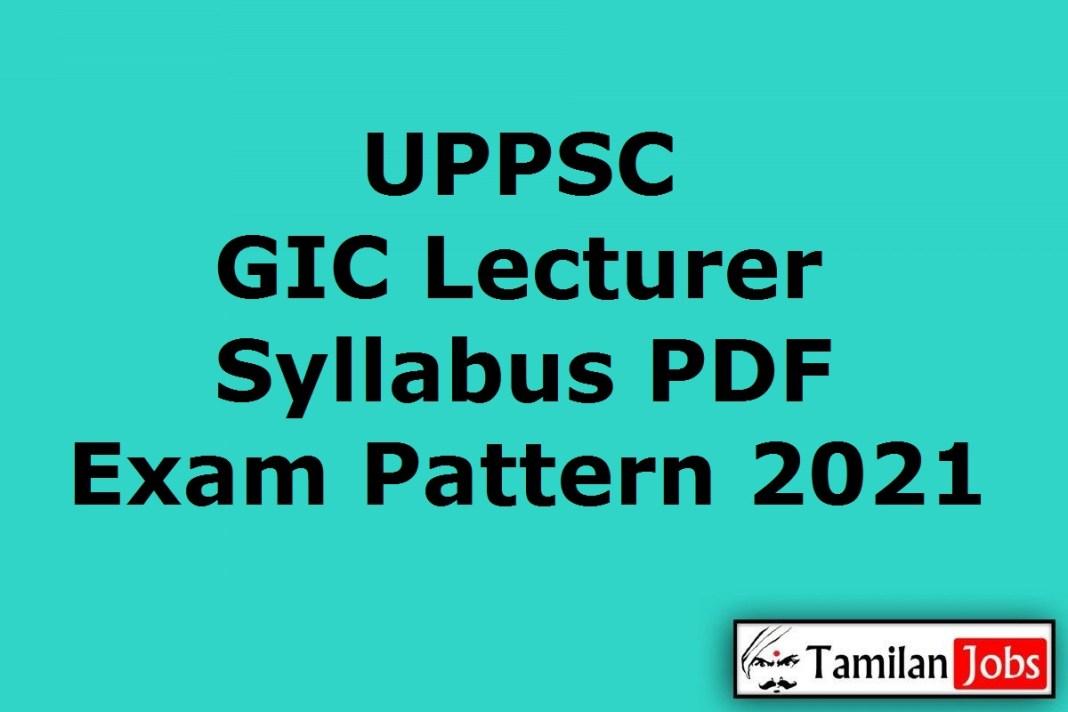 UPPSC GIC Lecturer Syllabus 2021