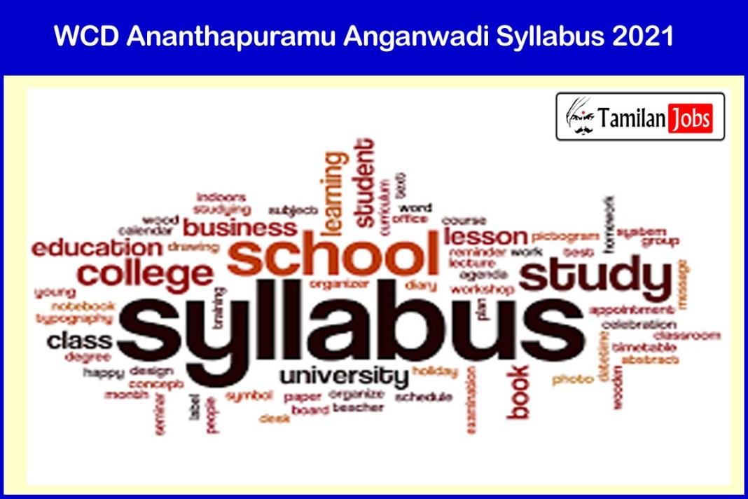 WCD Ananthapuramu Anganwadi Syllabus 2021