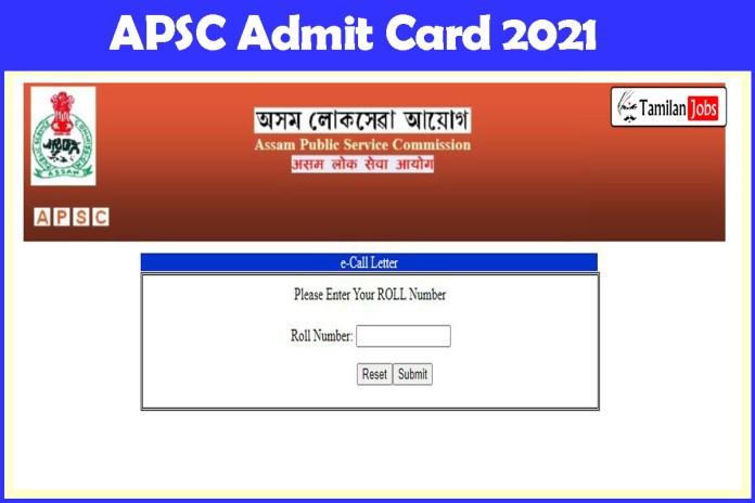 APSC Assistant Architect Admit Card 2021 (Announced) @ apsc.nic.in, Exam Date