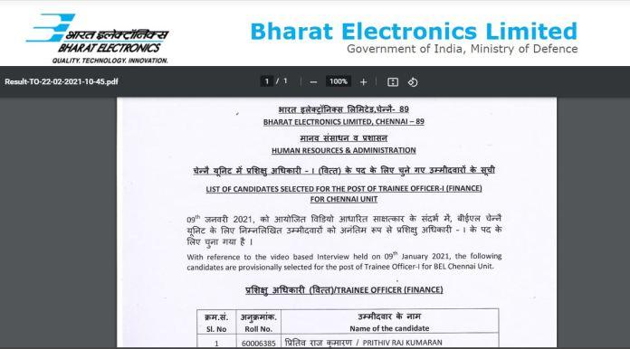 BEL Result 2021 (Out) @ bel-india.in, Trainee Officer-I, Project Officer-I Merit list