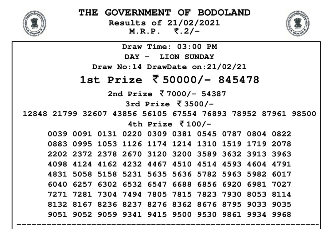 Bodoland Lottery Result Today 21.2.2021 at 3 PM