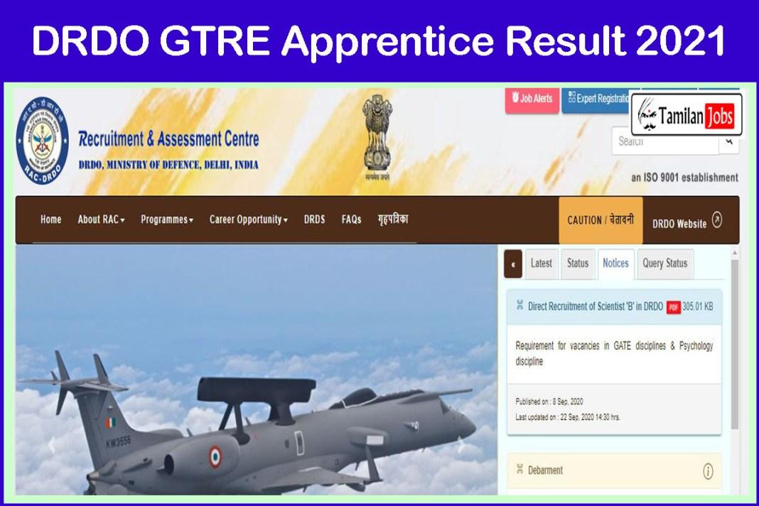 DRDO GTRE Apprentice Result 2021 PDF