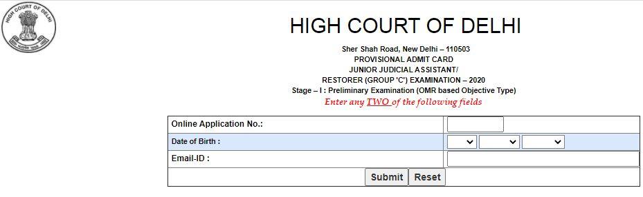 Delhi High Court JJA Admit Card 2021