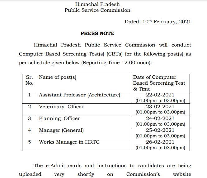 HPPSC Screening Test Schedule 2021 Out @ hppsc.hp.gov.in, Veterinary Officer, Planning Officer CBT Date